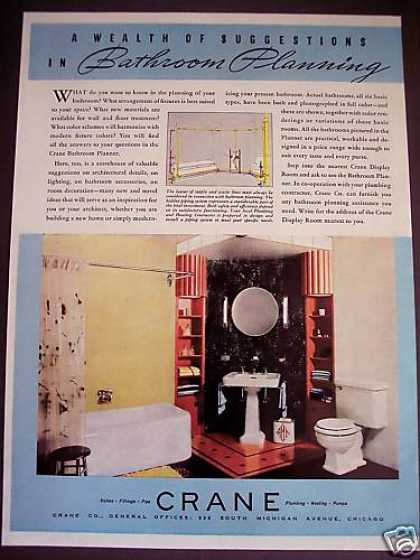 30's Bathroom Decor Crane Plumbing Fixtures (1938)