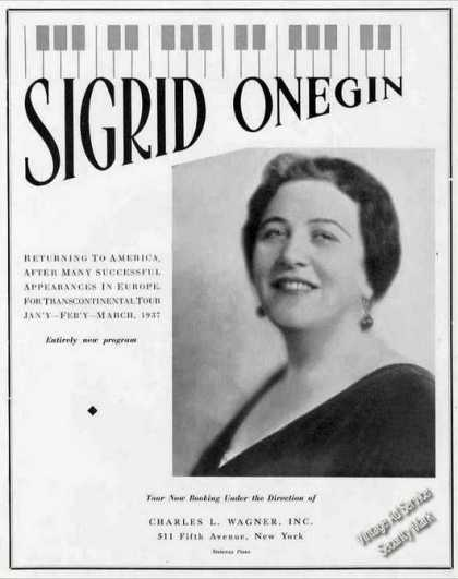 Sigrid Onegin Photo Contralto Booking (1936)