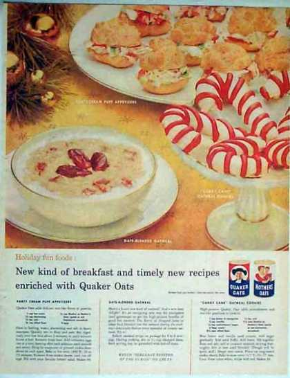 Quaker Oats – Candy Cane Oatmeal Cookies – 3 Recipes (1957)