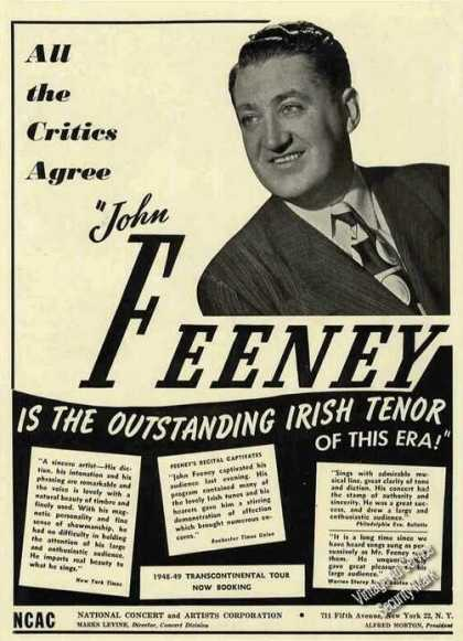 John Feeney Photo Irish Tenor Booking (1948)