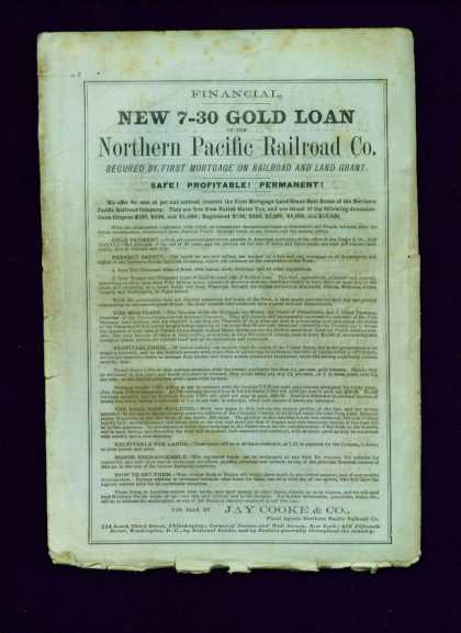Rare Gold Loan Northern Pacific Railroad Bonds (1871)