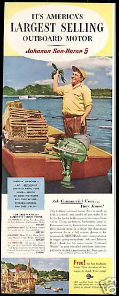 Lobster Traps Johnson Outboard Boat Motor (1952)