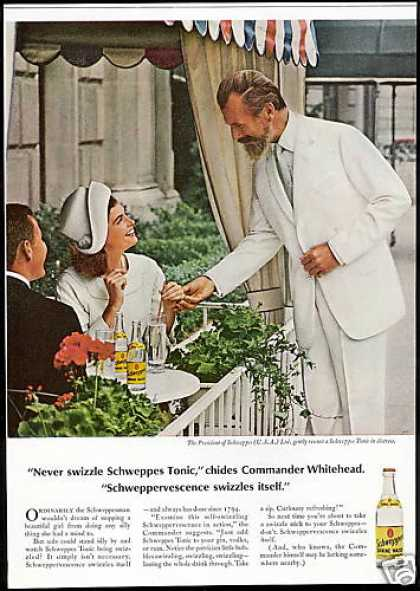 Schweppes Tonic Commander Whitehead Photo (1966)