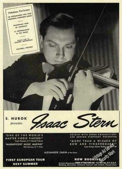 Isaac Stern Photo Violinist Booking (1948)