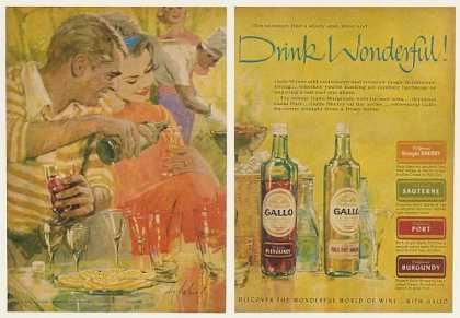 Gallo Wine Couple Summer Barbecue art (1962)