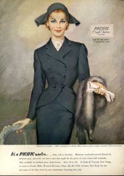 Pacific Wool Fabric Fashion Suit Art (1951)