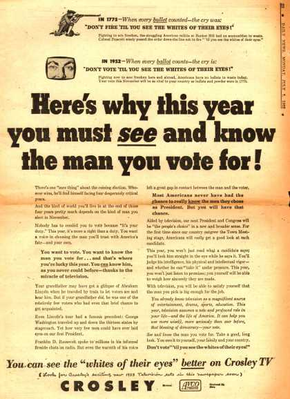 Crosley's Various – Here's why this year you must see and know the man you vote for (1952)