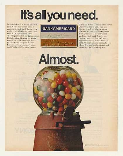 BankAmericard Credit Card Old Gumball Machine (1970)
