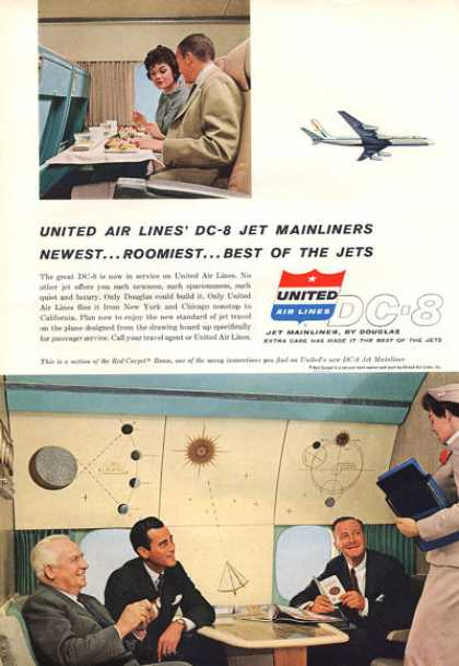 United Airlines Dc-8 Stewardess Red Carpet Room (1959)