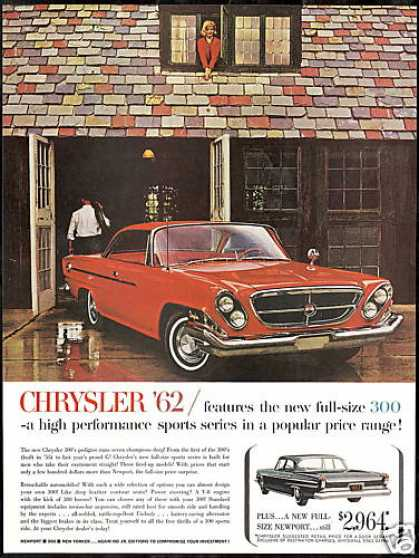 Chrysler Red 300 Photo Vintage Print Car (1962)
