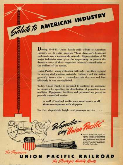 Union Pacific Railroad's Freight and passenger service – Salute to American Industry (1946)
