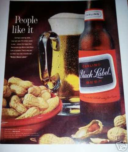 Bar Art Decor Carling Black Label Beer Ad Peanuts (1963)