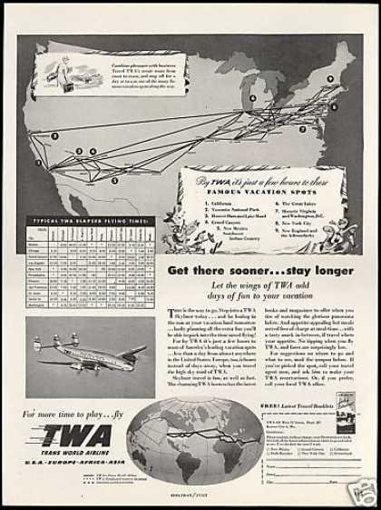 TWA Airlines Elapsed Flying Time Chart (1948)