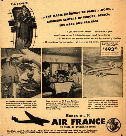 French National Airline's Air France – ...The Magic Doorway To Paris... Rome... Business Centers Of Europe, Africa, The Near and Far East (1948)