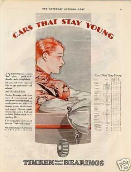"Timken Roller Bearing Ad ""Cars That Stay Young... (1929)"