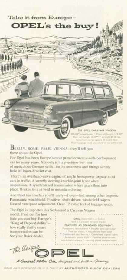 Opel Caravan Wagon Ad General Motors Import (1958)