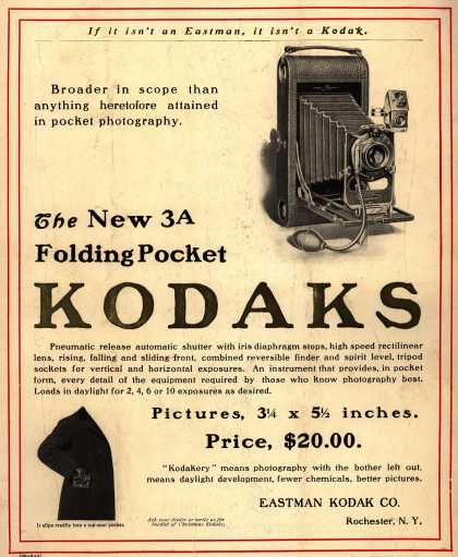 Kodak – The New 3A Folding Pocket Kodaks (1903)