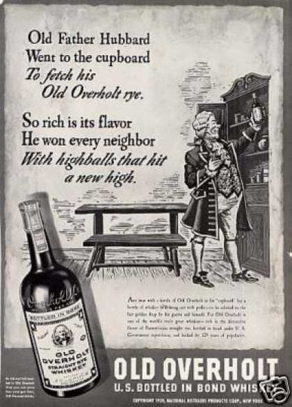 "Old Overholt Rye Whiskey Ad ""Old Father Hubbard... (1939)"