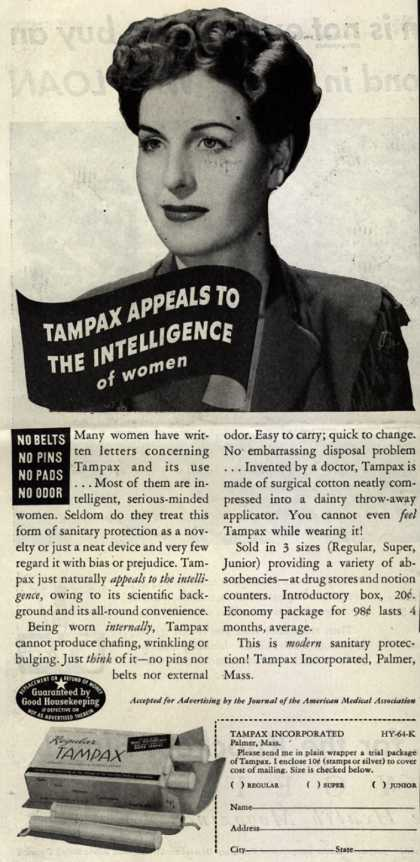 Tampax's Tampons – Tampax Appeals To The Intelligence Of Women (1944)