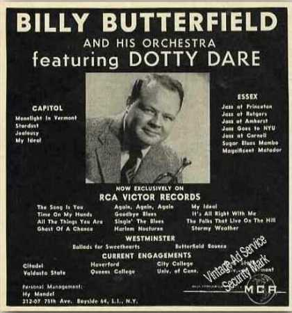 Billy Butterfield Orchestra Rare Booking (1957)