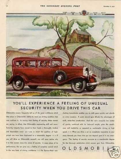 "Oldsmobile Car Color Ad ""You'll Experience... (1932)"