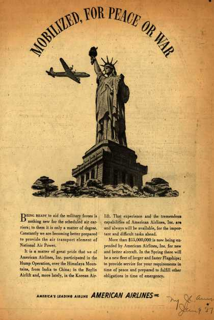 American Airline's War Readiness – Mobilized, for Peace or War (1951)
