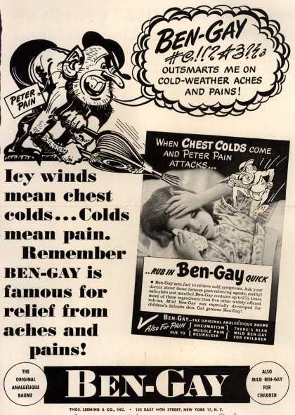 Thomas Leeming & Co.'s Ben-Gay – Icy winds mean chest colds... colds mean pain. Remember ben-gay is famous for relief from aches and pains. (1945)