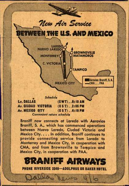 Braniff Airway's Mexico – New Air Service BETWEEN THE U.S. AND MEXICO (1945)