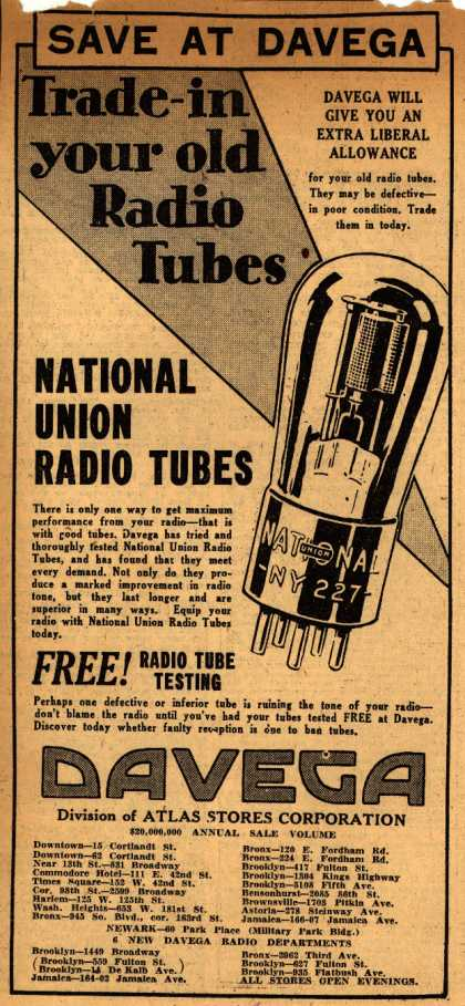 National Union Radio Tube's Radio Tubes – Save At Davega, Trade-in your old Radio Tubes (1930)
