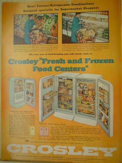Crosley refrigerators New freezer refrigerator combinations (1956)