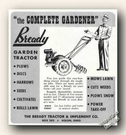 Bready Garden Tractors Solon Oh Farm Advertising (1951)