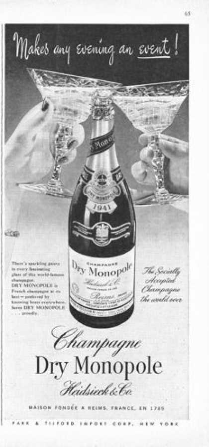 Monopole Champagne 1941 Bottle (1950)