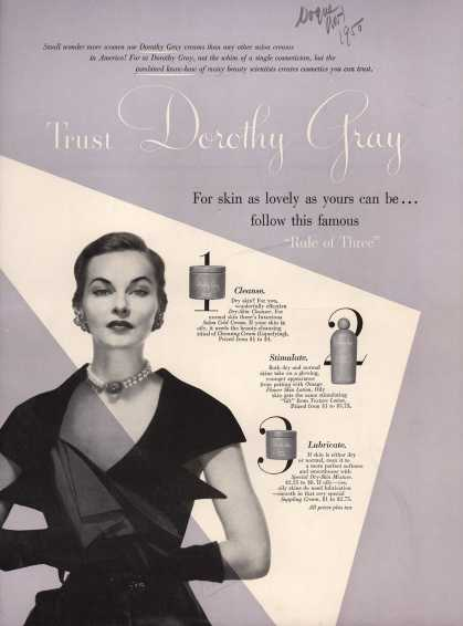 Dorothy Gray's Cleanser and lotion – Trust Dorothy Gray (1950)