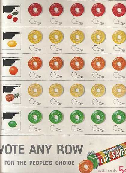 "Lifesaver's ""Vote any row for the people's choice"" (1956)"