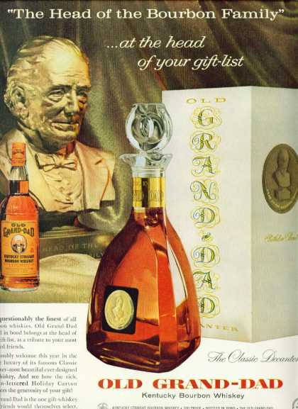 Old Grand Dad Bourbon Whiskey C Ad Classic Decanter (1960)