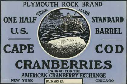 Cape Cod, Massachusetts, Plymouth Rock Brand Cranberry Label