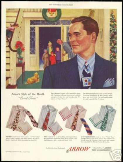John Falter Art Arrow Shirt Christmas Fashion (1948)