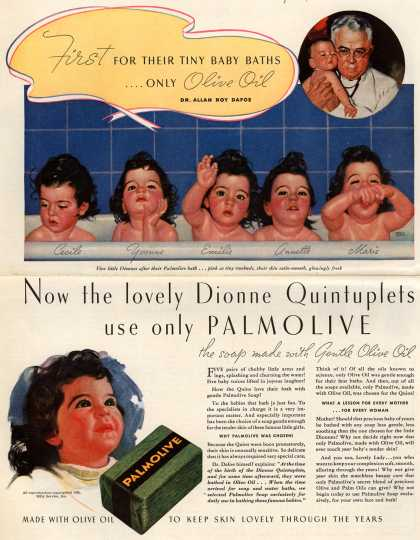 Palmolive Company's Palmolive Soap – First For Their Tiny Baby Baths ....Only Olive Oil (1936)