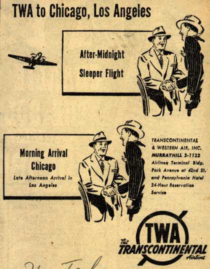 Transcontinental & Western Air's Chicago, Los Angeles – TWA to Chicago, Los Angeles (1942)