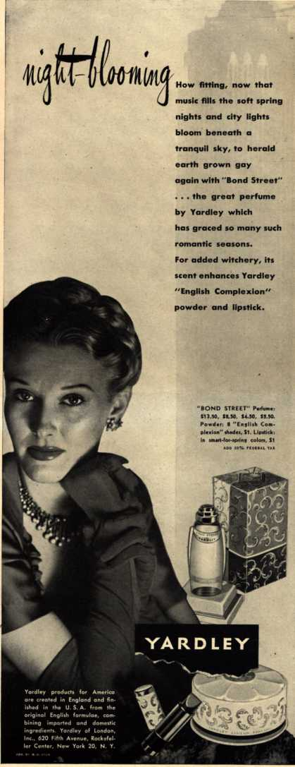 Yardley of London's Bond Street Cosmetics – night-blooming (1945)