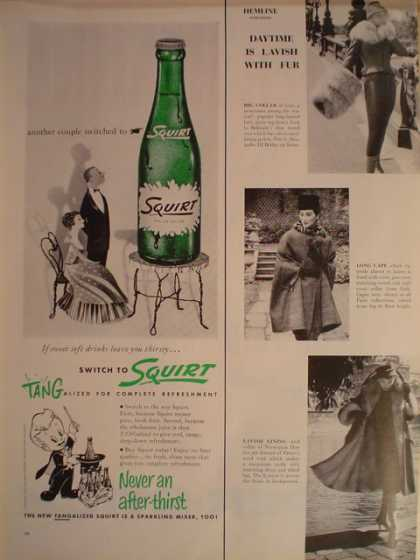 Squirt Soft Drink Soda Pop Never an afterthirst 1/2 page (1956)