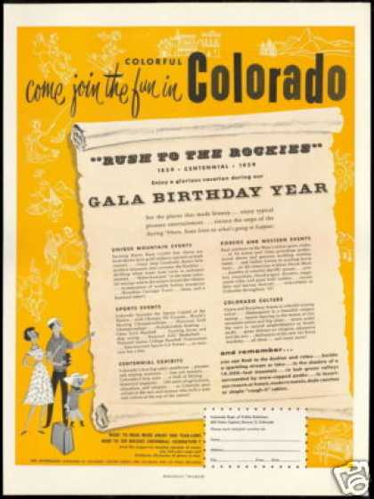Colorado Travel 100th Birthday Centennial (1959)