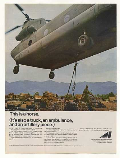 US Cavalry Army Helicopter Avco Engine Photo (1967)