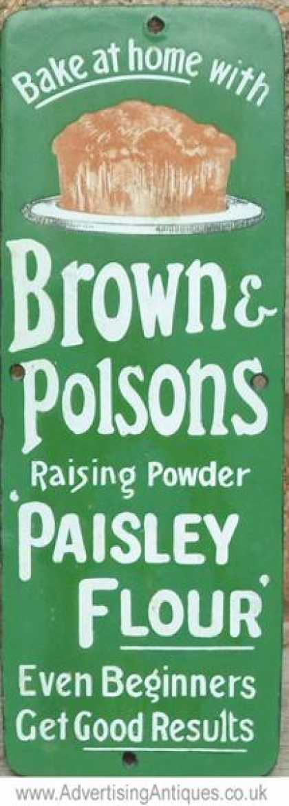 Brown & Polson's Paisley Flour Fingerplate Sign