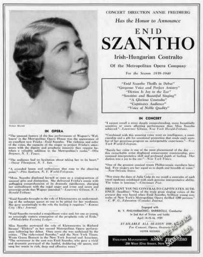 Enid Szantho Irish-hungarian Contralto Trade (1939)