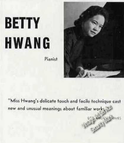 Betty Hwang Photo Pianist Trade (1960)