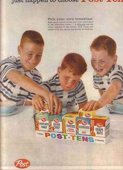 Post's Single Serving Assortment of Cereal (1959)