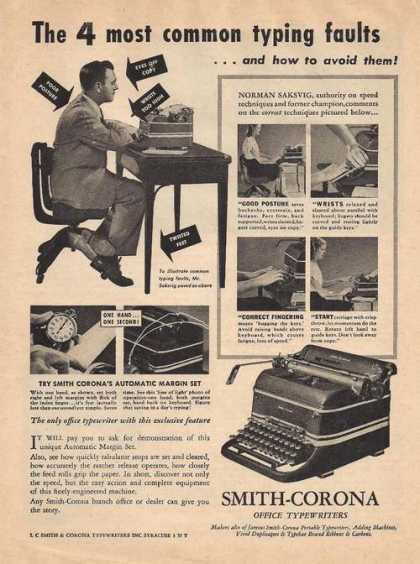 Smith Corona Office Typewriter (1947)