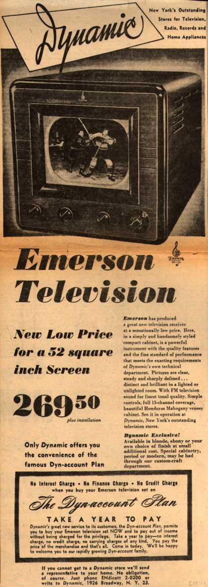 Emerson Radio and Phonograph Corporation's Television – Dynamic Emerson Television (1948)