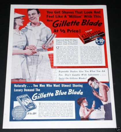 "Old , Gillette ""Thin"" Blue Blade (1939)"